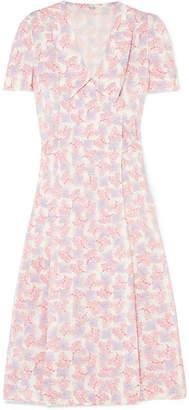 Miu Miu Floral-print Silk Crepe De Chine Wrap Dress - Pink