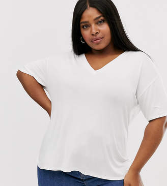 Asos DESIGN Curve v neck oversized t-shirt in textured jersey in white