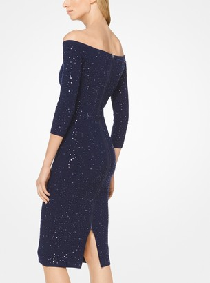 Michael Kors Sequined Stretch-Viscose Off-the-Shoulder Dress