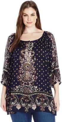 Angie Junior's Plus-Size Printed Raglan Sleeve Top