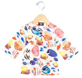Dolce & Gabbana Girls' Fish Print Short Sleeve Top
