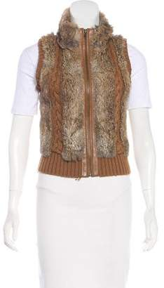BCBGMAXAZRIA Wool-Blend Fur Vest
