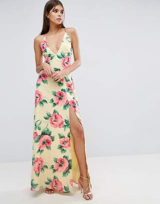 Asos DESIGN Floral Plunge Strap Back Maxi Dress