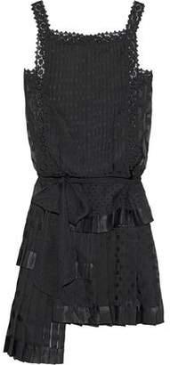 Zimmermann Maples Sportive Asymmetric Pleated Fil Coupe Chiffon Mini Dress