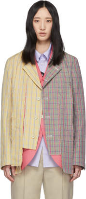 Comme des Garcons Pink and Grey Shred Double Layered Blazer