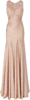 Zac Posen Novelty Satin Back Crepe Fitted Sleeveless Gown