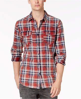 American Rag Men's Distressed Plaid Shirt, Created for Macy's