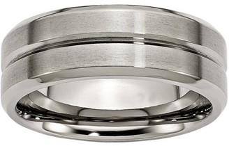 Primal Steel Titanium Grooved Beveled Edge 8mm Brushed and Polished Band