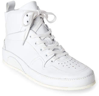 Moschino White Leather High-Top Sneakers