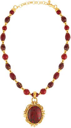 Jose & Maria Barrera Red Glass Beaded Pendant Necklace