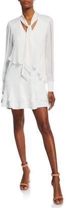 Parker Kenji Tiered Chiffon Long-Sleeve Dress