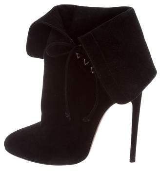 Alaia Suede Round-Toe Booties