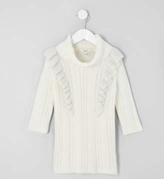 River Island Mini girls cream cable frill sweater dress