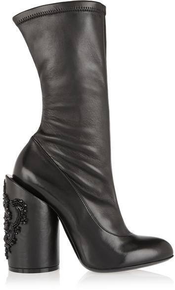 Givenchy - Crystal-embellished Leather Boots - Black