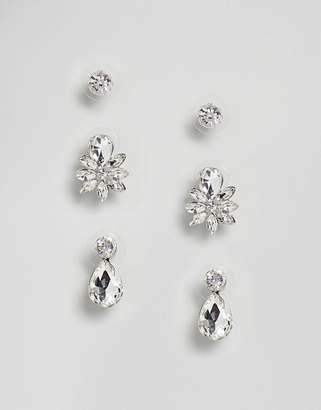 True Decadence Set of Three Silver Embellished Studs (+)