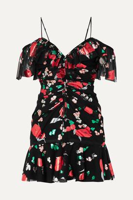 Alice McCall Kismet Cold-shoulder Ruched Metallic Printed Chiffon Mini Dress