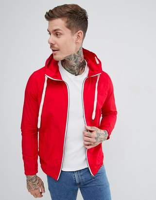 Pull&Bear Hooded Jacket In Red