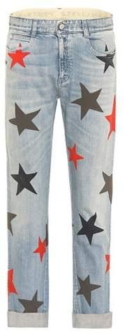 Bedruckte Mid Rise Jeans
