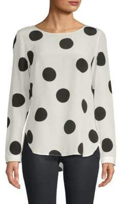 Akris Polka Dot Long-Sleeve Top