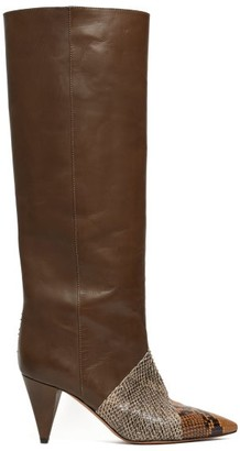 Isabel Marant Laomi Snake Effect Leather Knee High Boots - Womens - Khaki Multi