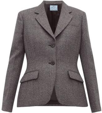 Prada Galles Mouline Wool Blend Blazer - Womens - Grey