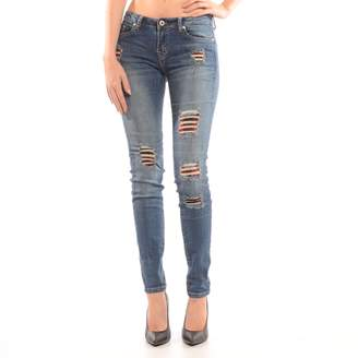 Dex Destructed Skinny Jean With Plaid