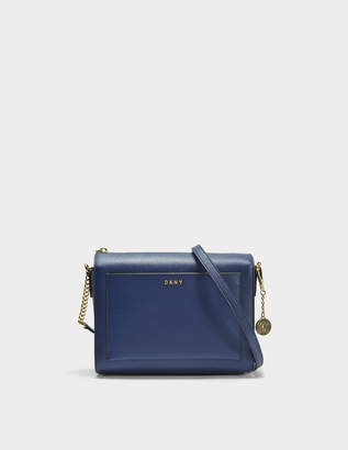 DKNY Bryant Medium Box Crossbody Bag in Navy Sutton Textured Leather