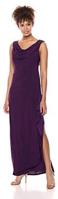 Alex Evenings Women's Long Dress with Beaded Shoulders and Cowl Neckline (Petite and Regular Sizes)