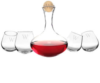 Cathy's Concepts Cathys Concepts Monogrammed 5Pc Wine Decanter & Tipsy Tasters Set