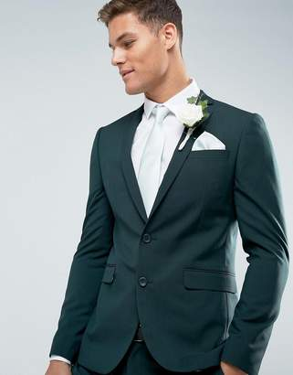 Asos Design Wedding Skinny Suit Jacket in Forest Green with Printed Lining