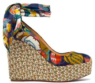 Christian Louboutin Barbaria Zeppa 120 Floral Satin Wedge Platforms - Womens - Pink Multi
