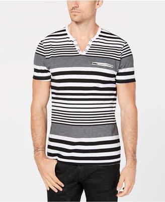INC International Concepts I.n.c. Men's Striped Split-Neck T-Shirt
