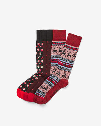 Express Set Of Three Holiday Socks Gift Set