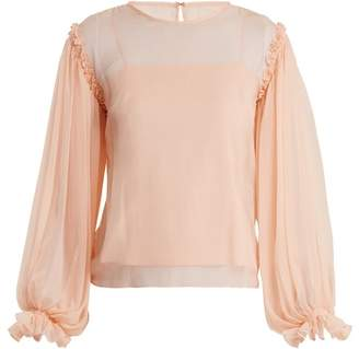 Emilio De La Morena Gathered Sleeve Silk Chiffon Blouse - Womens - Pink