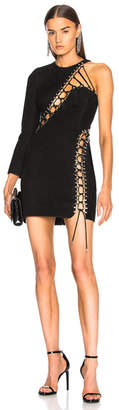 Thierry Mugler Suede Lace Up Detail One Shoulder Mini Dress
