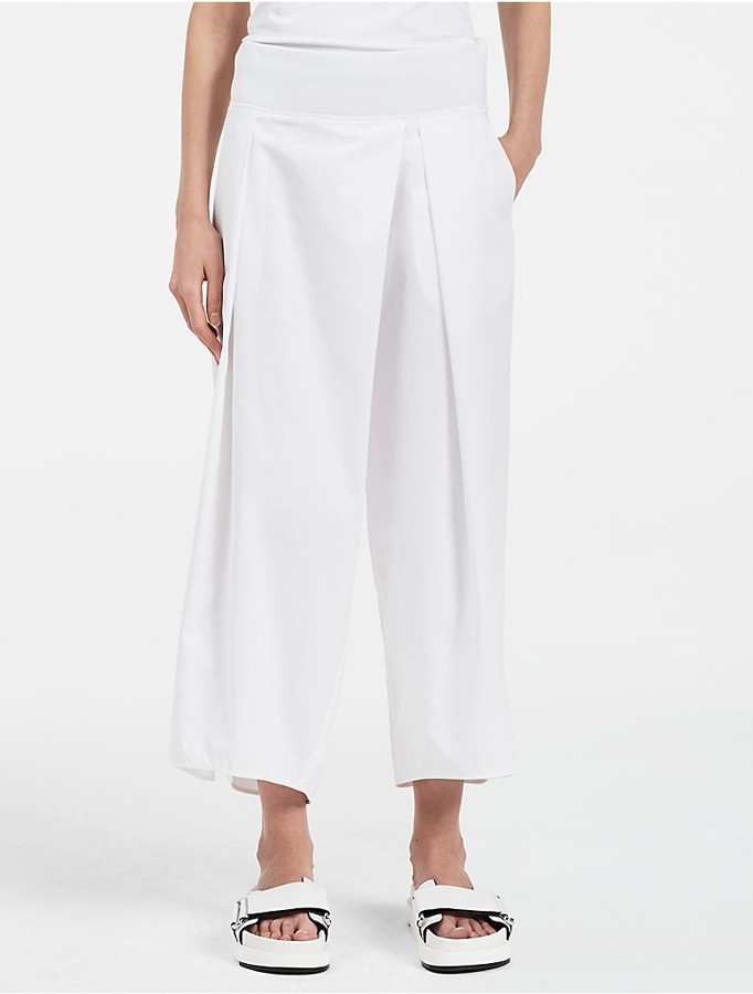 Calvin Klein Platinum Refined Cotton Twill Wide Pants