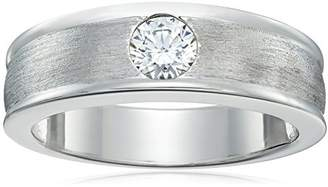 Swarovski Men's Platinum-Plated Sterling Silver Zirconia 5 mm Round-Cut Band Ring