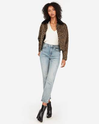 Express Leopard Print Sherpa-Lined Denim Shortie Jacket