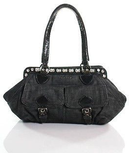Miu MiuMiu Miu Black Denim Rhinestone Detail Double Handle Shoulder Handbag