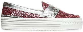N°21 Glitter Leather Slip-On Sneakers