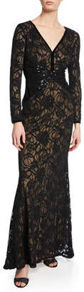Tadashi Shoji V-Neck Long-Sleeve Burnout Gown with Velvet & Sequin Details