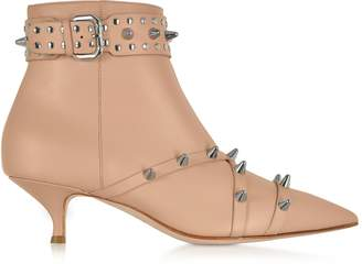 RED Valentino Nude Leather Mid-Heel Ankle Boots