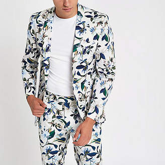 River Island White floral skinny fit suit jacket