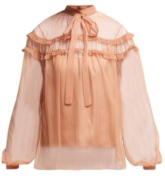 Rochas Ruffle Trim Silk Chiffon Blouse - Womens - Beige