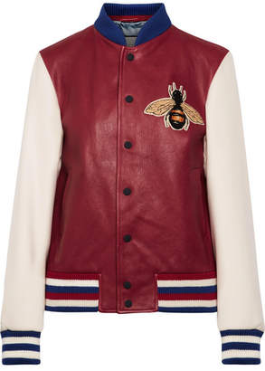 Gucci Appliquéd Leather And Ribbed Wool Bomber Jacket - Claret