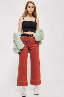 Topshop Petite Terracotta Cropped Wide Leg Jeans