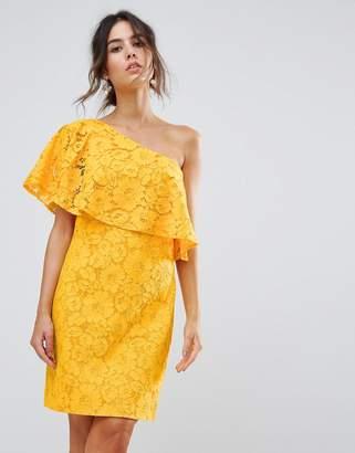 Warehouse Bonded Lace One Shoulder Dress