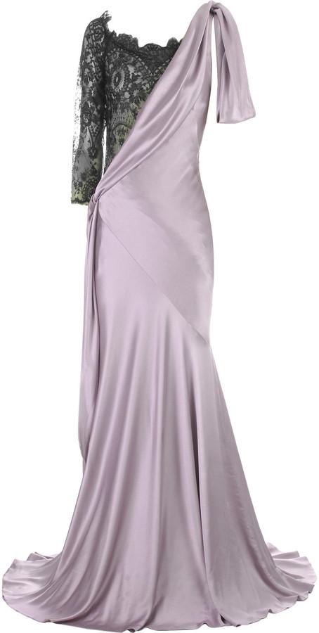 Alexander McQueen Lace insert evening gown