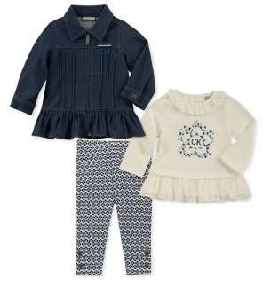 Calvin Klein Baby Girl's Three-Piece Denim Peplum Jacket, Ruffle Top & Printed Leggings Set