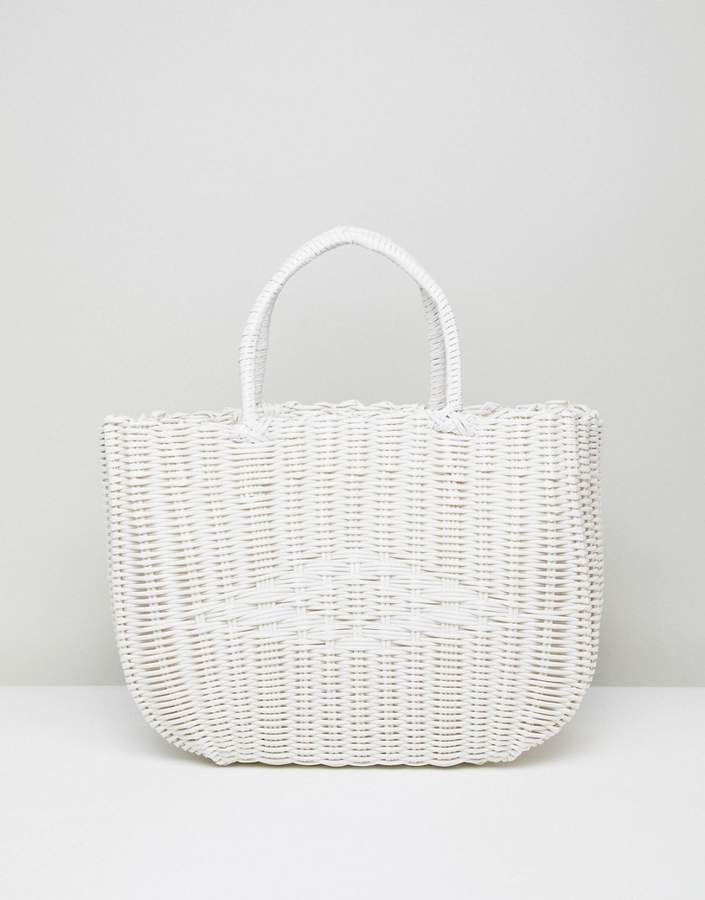 Bershka basket weave shopper in white